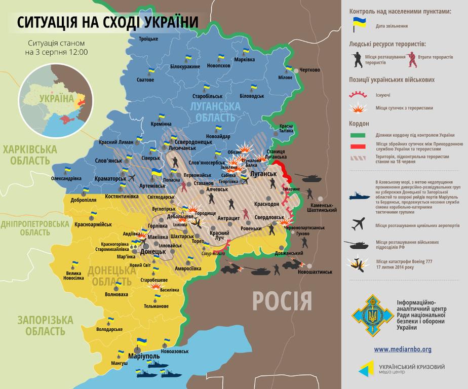 СНБО опубликовал актуальную карту боев на Востоке (ИНФОГРАФИКА)