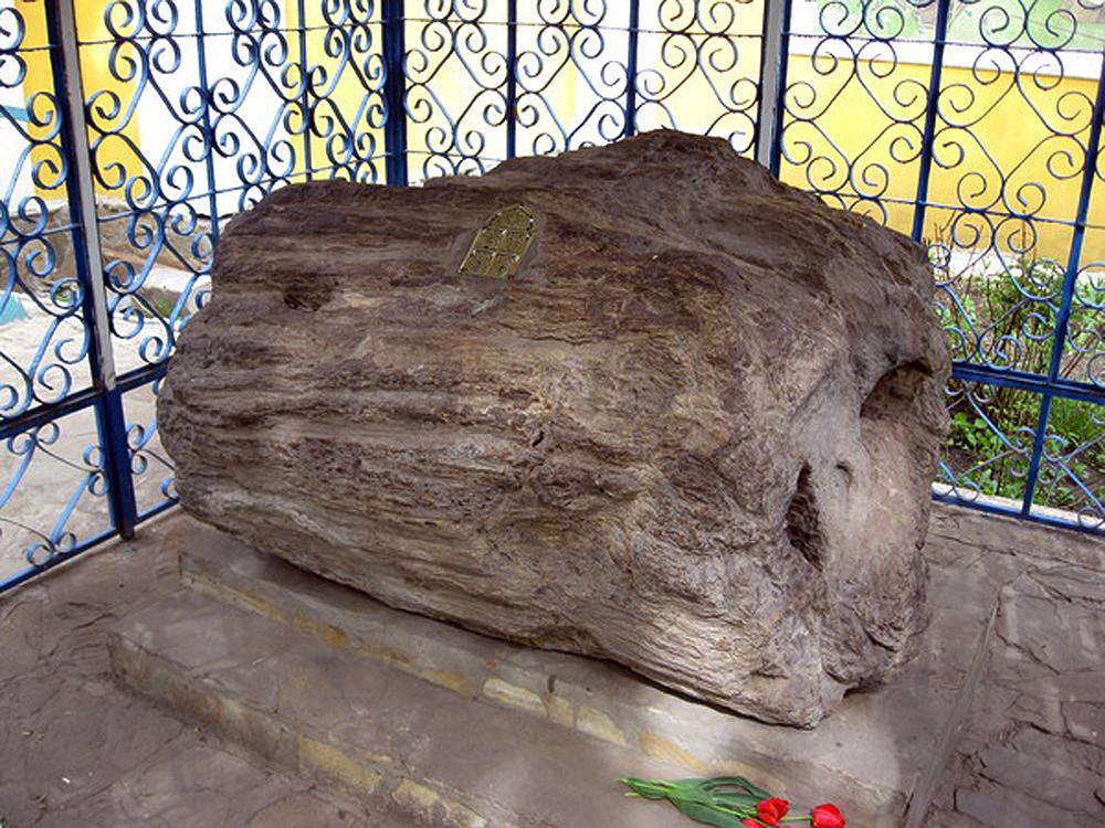 Каменный дуб оградили решеткой и прикрепили к нему металлическую табличку с надписью