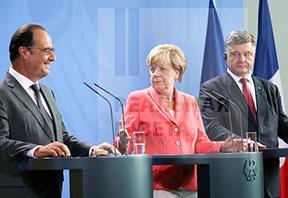 О чем говорили в Берлине Меркель, Олланд и Порошенко