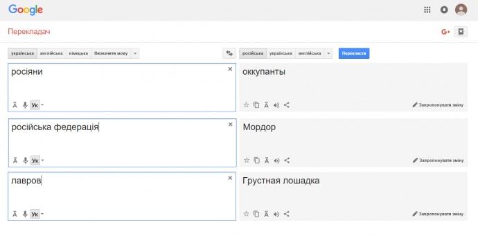 В «Google» объяснили перевод слова «росіяни» на «оккупанты»