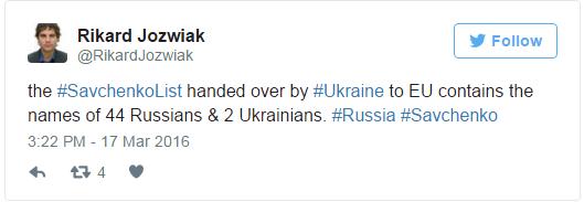Украина передала ЕС «список Савченко», в котором 44 россиянина и 2 украинца