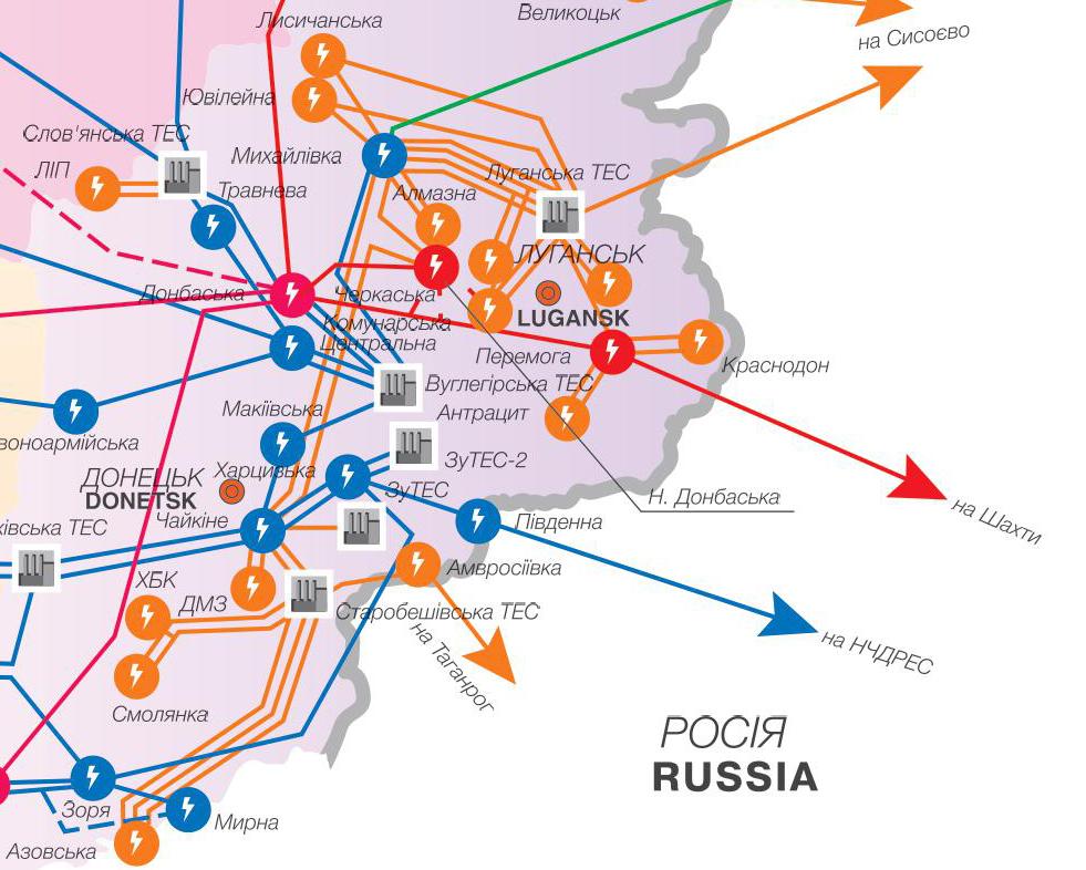 Энергосистема Донбасса. Источник - сайт Укрэнерго ua.energy