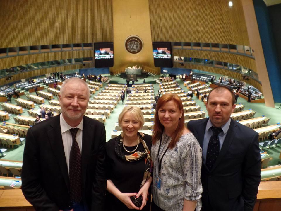 Владимир Тимошенко (слева) с коллегами в ООН. Фото из Facebook Альянс громадського здоров'я