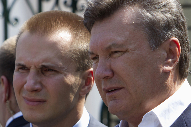 Ukrainian President Viktor Yanukovich is pictured with his son Oleksander