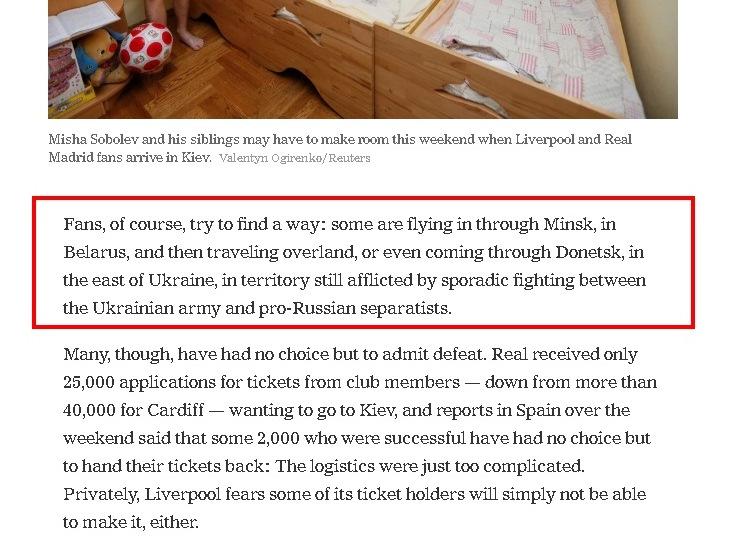 NYTimes предложила фанатам футбола добираться в Киев через Донецк?