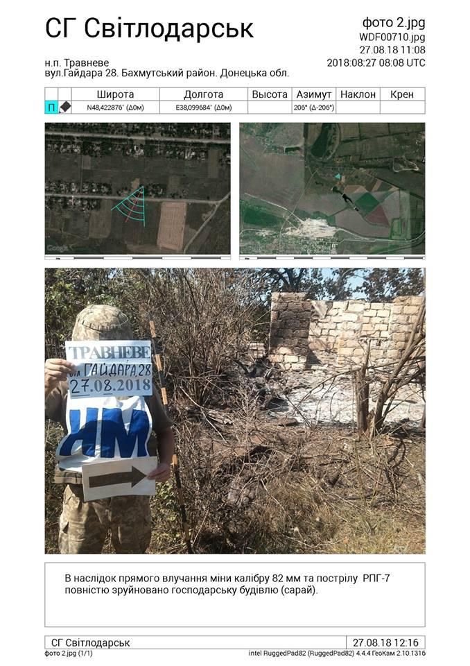 Последствия обстрелов двух поселков на Донбассе