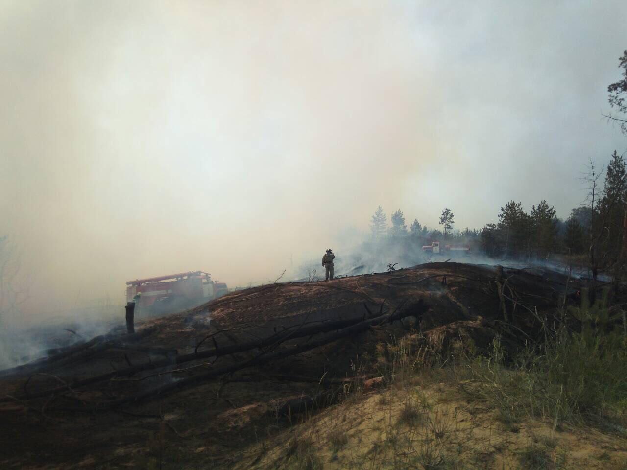 В Станично-Луганском районе бушует масштабный пожар