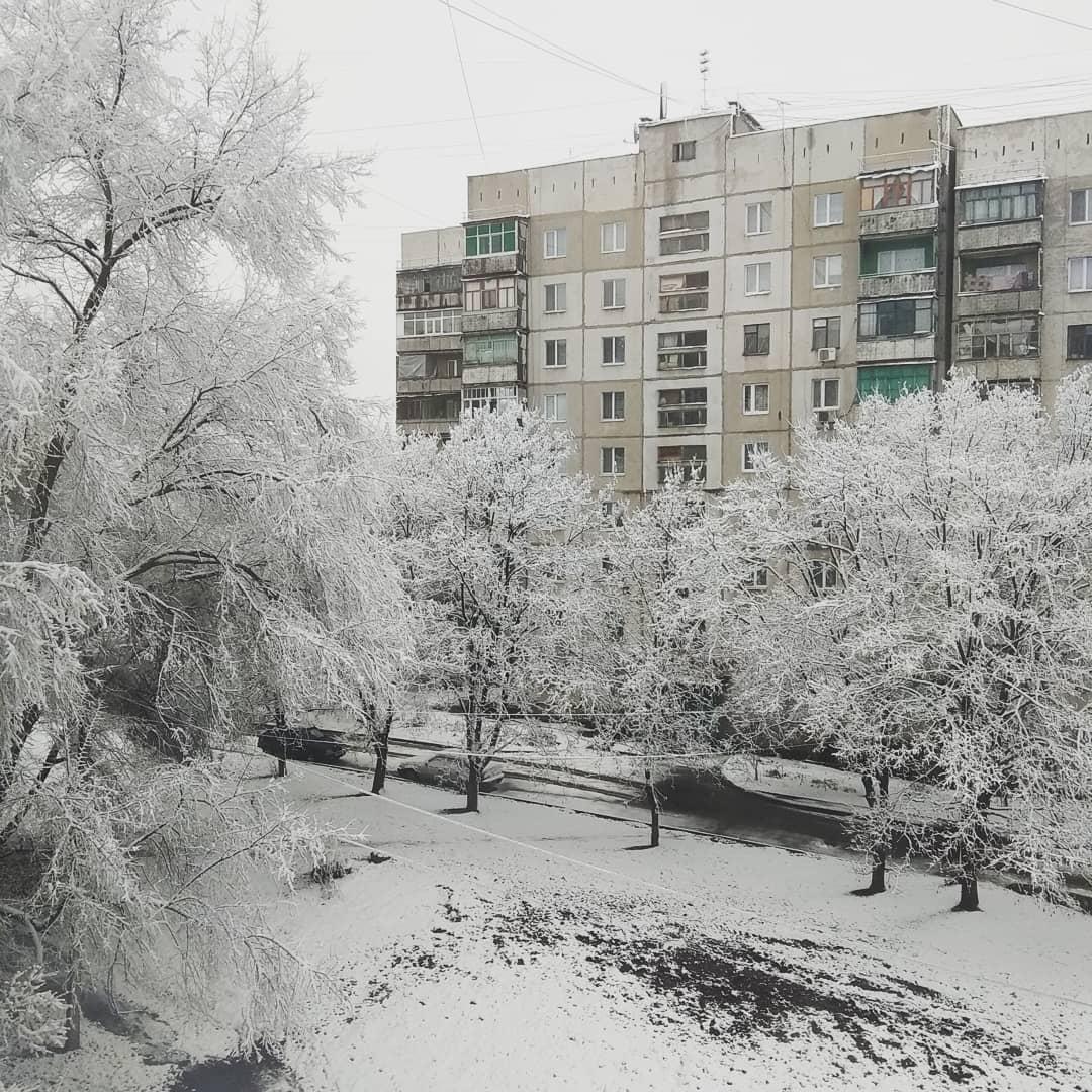 Луганчане делается фотографиями заснеженного Луганска