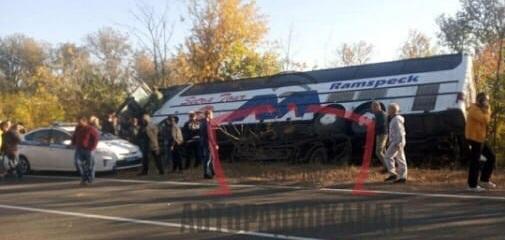 На неподконтрольной части Донецкой области перевернулся автобус «Донецк-Москва»